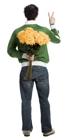 Free Man With A Bunch Of Flower Royalty Free Stock Photo - 2339175