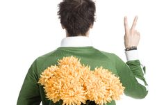 Free Man With A Bunch Of Flower Royalty Free Stock Image - 2339176