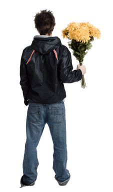 Free Man With A Bunch Of Flower Royalty Free Stock Photography - 2339537