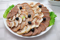 Free Appetizing Meat Slices Is Spread Out To Plate Stock Images - 23300794