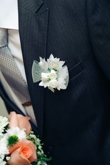 Posy With Roses On Groom Suit Royalty Free Stock Photos