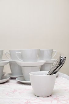 Free Many White Cups With Spoon On A Table Royalty Free Stock Images - 23300809