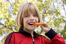 Free Young Boy Eating A Carrot Stock Photos - 23301783