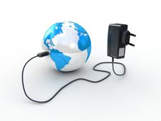 Free Travel Adapter And Globe Royalty Free Stock Photos - 23304448