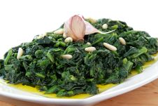 Free Spinach Whit Onion End Garlic Stock Photography - 23305242