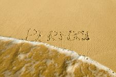 Inscription On The Sand Stock Image
