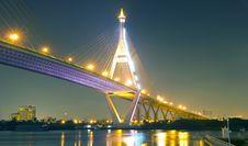Free Bhumibol Bridge In Thailand Stock Image - 23311781