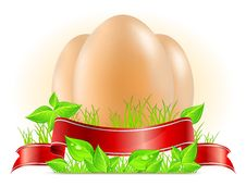 Free Eggs With Ribbon On Grass Royalty Free Stock Photo - 23319215