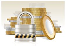 Free Gold Coins & Lock Royalty Free Stock Images - 23319239