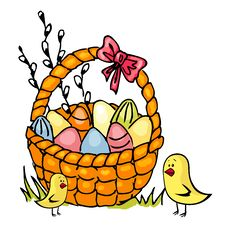 Free Easter Basket And Chickens Royalty Free Stock Image - 23319456