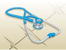 Free Stethoscope And Cardiogram. Stock Images - 23319904