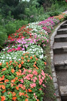 Free Nicely Arranged Flowerbed In A Garden Royalty Free Stock Image - 23323256