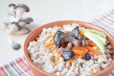 Barley Porridge With Oyster Mushrooms, Carrots Stock Image