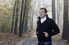Free Young Men Posing In Autumn Park Royalty Free Stock Image - 23324196