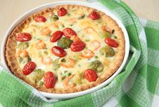 Pie With Brussels Sprouts, Shrimp And Tomatoes Royalty Free Stock Photo