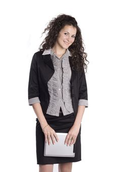 Happy Business Woman With A Tablet PC Stock Images