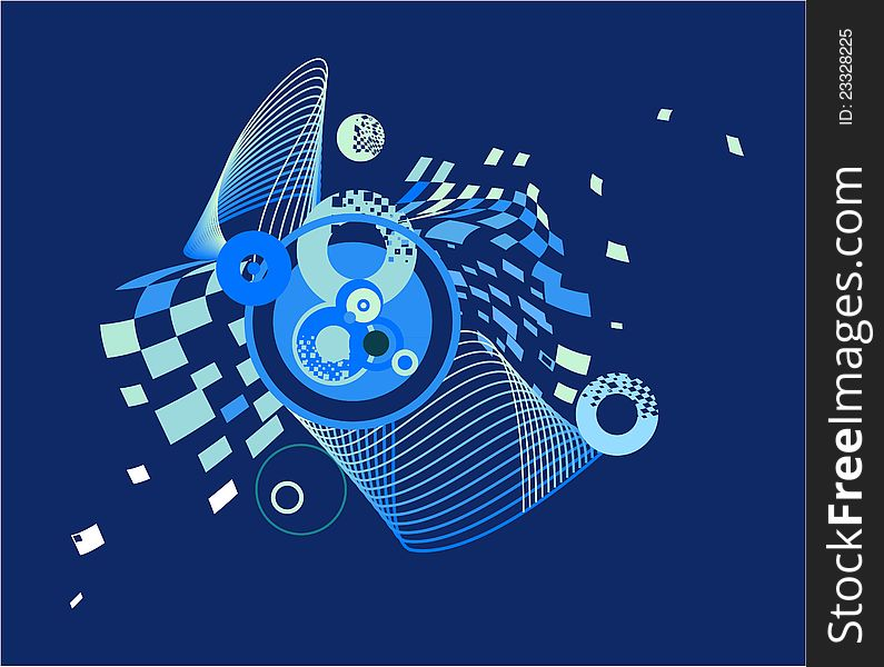 Dark blue abstract image with the circles