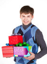 Free Present Gift Holding Man Looking Camera Stock Photography - 23331032