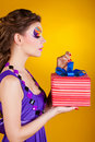 Free Young Beautiful Woman With Make Up Is Opening Gift Royalty Free Stock Image - 23335726