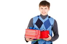 Free Present Gift Holding Man Looking Camera Stock Photo - 23330950