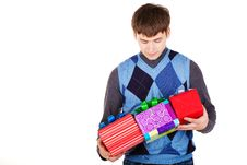 Free Present Gift Holding Man Stock Photography - 23330962