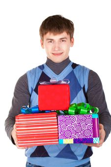 Free Present Gift Holding Man Looking Camera Stock Photo - 23330970