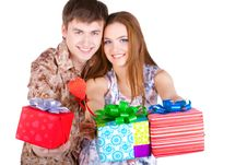 Free Young Couple With Gifts Stock Photos - 23331113