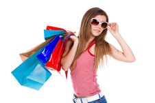 Free Young Woman Holding Shopping Bags Royalty Free Stock Photos - 23331268