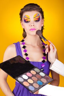 Free Beautiful Young Female Face With Fashion Make-up Royalty Free Stock Images - 23331399