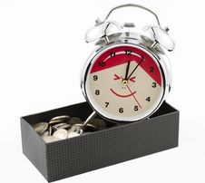Free Beautiful Clock Staying On Baht Coins With Box. Stock Image - 23334781