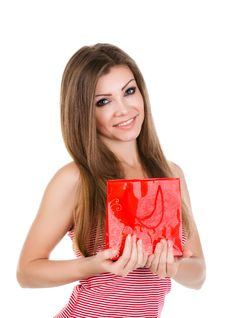 Portrait Of Beautiful Young Woman With Gift Royalty Free Stock Photography