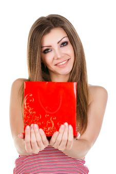 Portrait Of Beautiful Young Woman With Gift Royalty Free Stock Photos