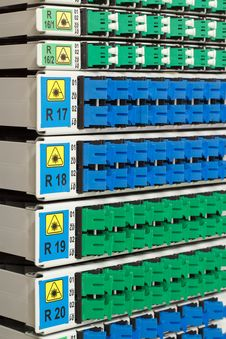Detail Of Fiber Optic Rack With Optical Connectors Royalty Free Stock Photo