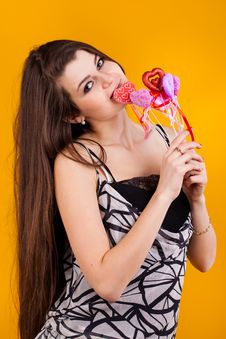 Free Beautiful Young  Woman With Hearts Stock Photography - 23336852