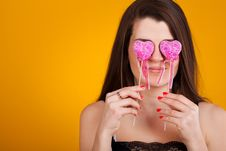 Free Beautiful Young  Woman With Hearts Royalty Free Stock Photos - 23336878