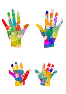Free Colored Hands Royalty Free Stock Images - 23337829