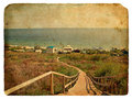 Free A Staircase Leads Down To The Sea. Old Postcard. Stock Photography - 23349112