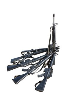 Free Machine Guns  M.16 With Clipping Path Stock Photo - 23343720