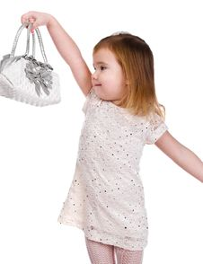 Portrait Of Cute Little Girl With A Bag Royalty Free Stock Photography