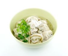 Free Meat Pelmeni With Sour Cream And Greens Stock Photo - 23345660