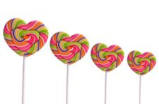 Isolated Colorful Heart-shaped Lollipops