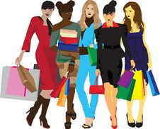 Free Women With Shopping Royalty Free Stock Photo - 23348545