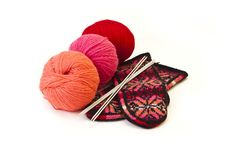 Free Hank Of Wool ,  Knitting Needle And Mittens. Royalty Free Stock Photos - 23349438