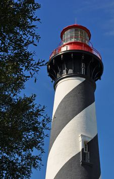 Free Striped Historic Lighthouse Against Blue Sky Royalty Free Stock Image - 23349456