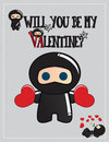 Free Ninja Valentine&x27;s Day Card Royalty Free Stock Photography - 23351107