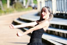 Free Fashion Girl With Pigtails Shouting And Dancing Royalty Free Stock Photography - 23350417