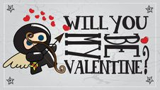 Free Ninja Valentine S Day Card Royalty Free Stock Photo - 23351005