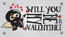 Ninja Valentine S Day Card Royalty Free Stock Photo