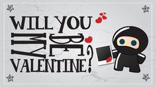 Ninja Valentine S Day Card Royalty Free Stock Photography