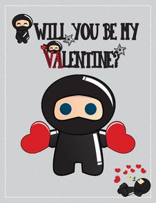 Free Ninja Valentine S Day Card Royalty Free Stock Photography - 23351107